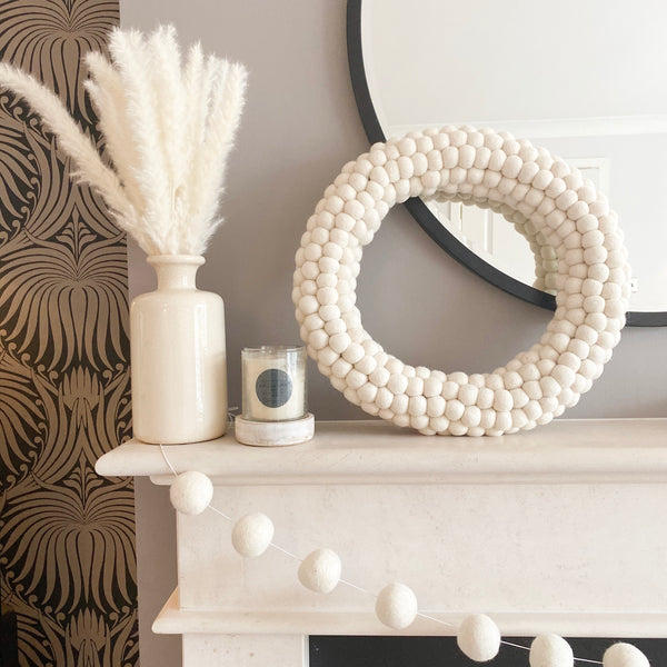 All White Felt Ball Pom Pom Wreath By Stone and Co
