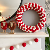 Red and White Felt Ball Pom Pom Wreath By Stone and Co