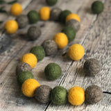 Stone and Co Felt Ball Autumn Vibes Pom Pom Garland - Moss, Mustard and Stone - stoneandco