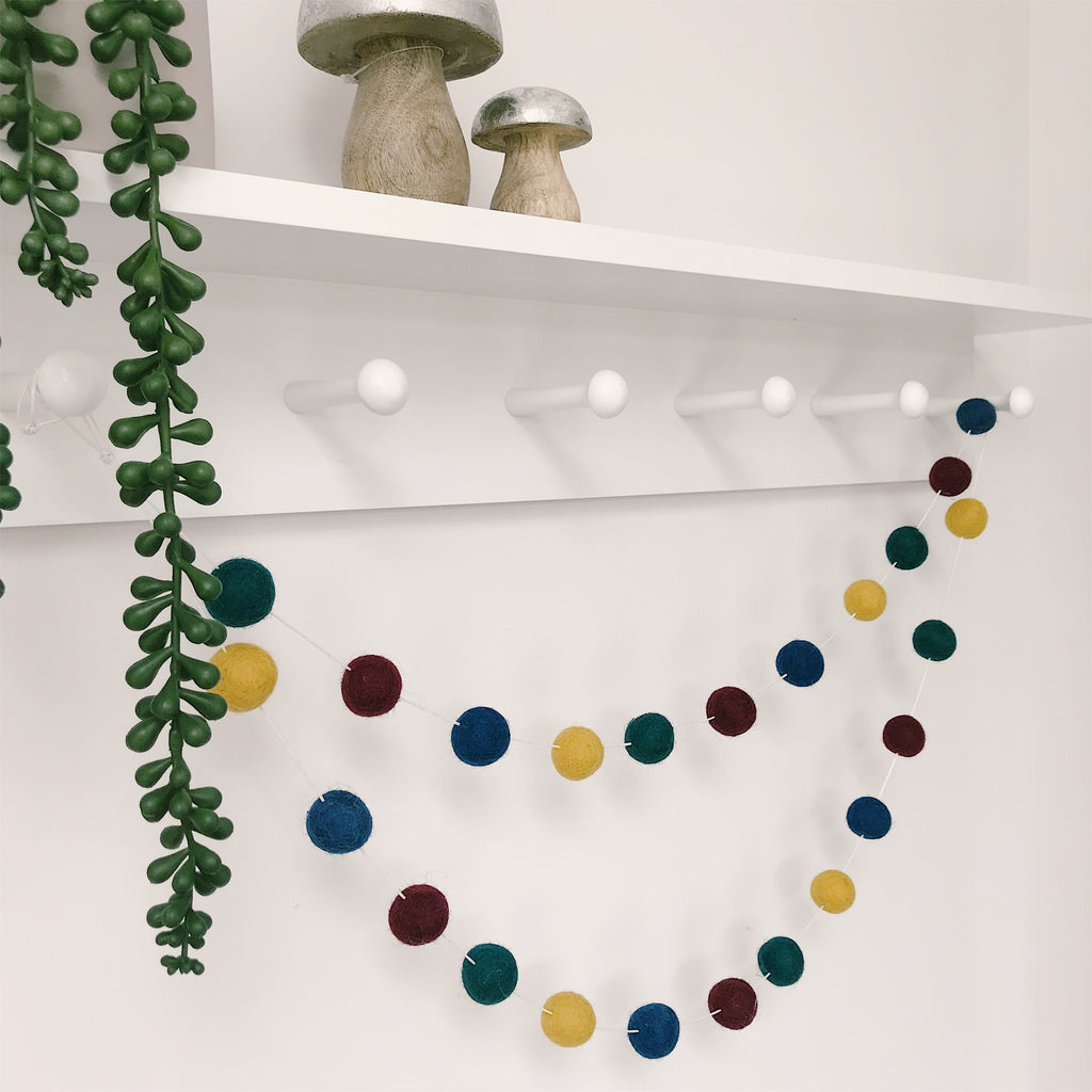 Felt Ball Pom Pom Garland In Rich Autumn Colours By Stone and Co - stoneandcoshop
