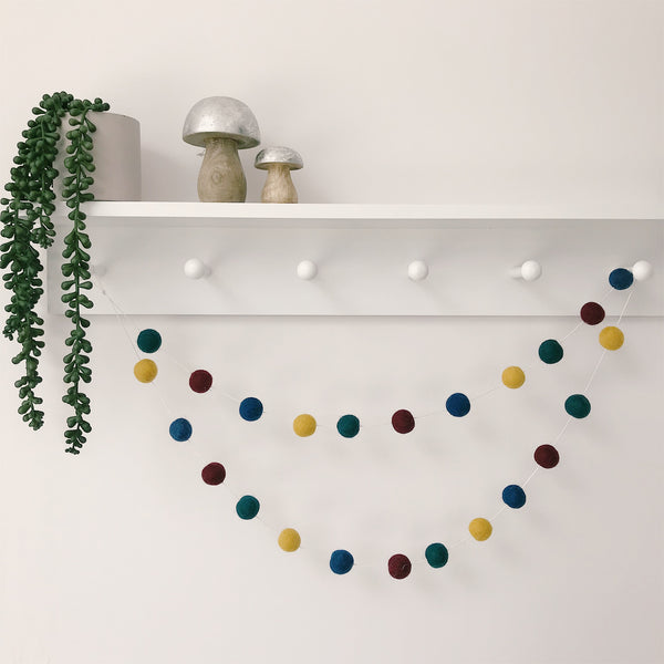 Felt Ball Pom Pom Garland In Rich Autumn Colours By Stone and Co