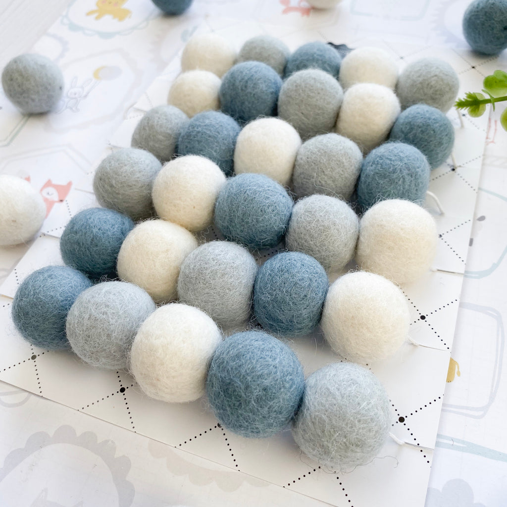 Stone and Co Felt Ball Pom Garland in Light Blues - stoneandcoshop