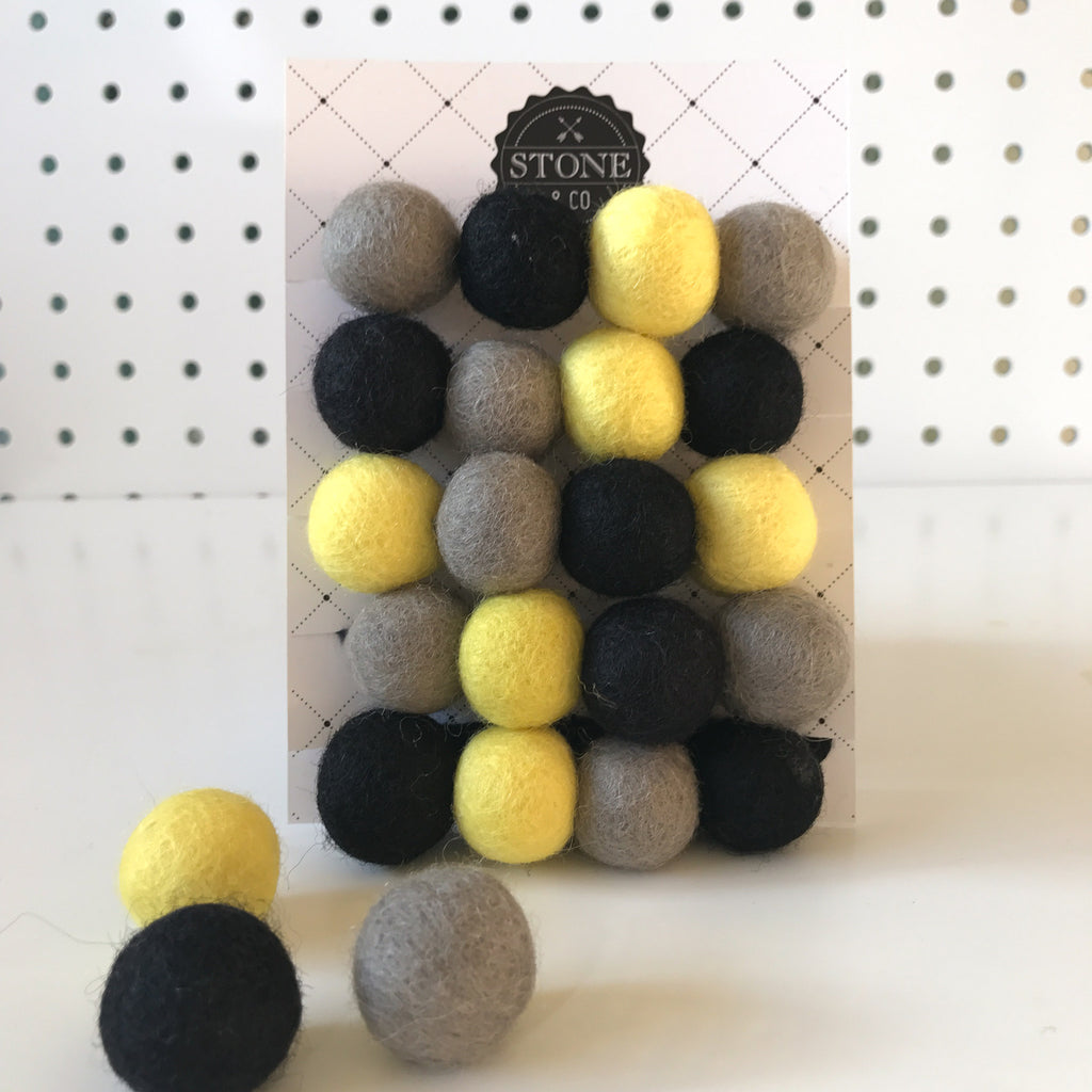 Stone and Co Felt Ball Pom Pom Garland in Batman Yellow, Black, Grey - stoneandcoshop