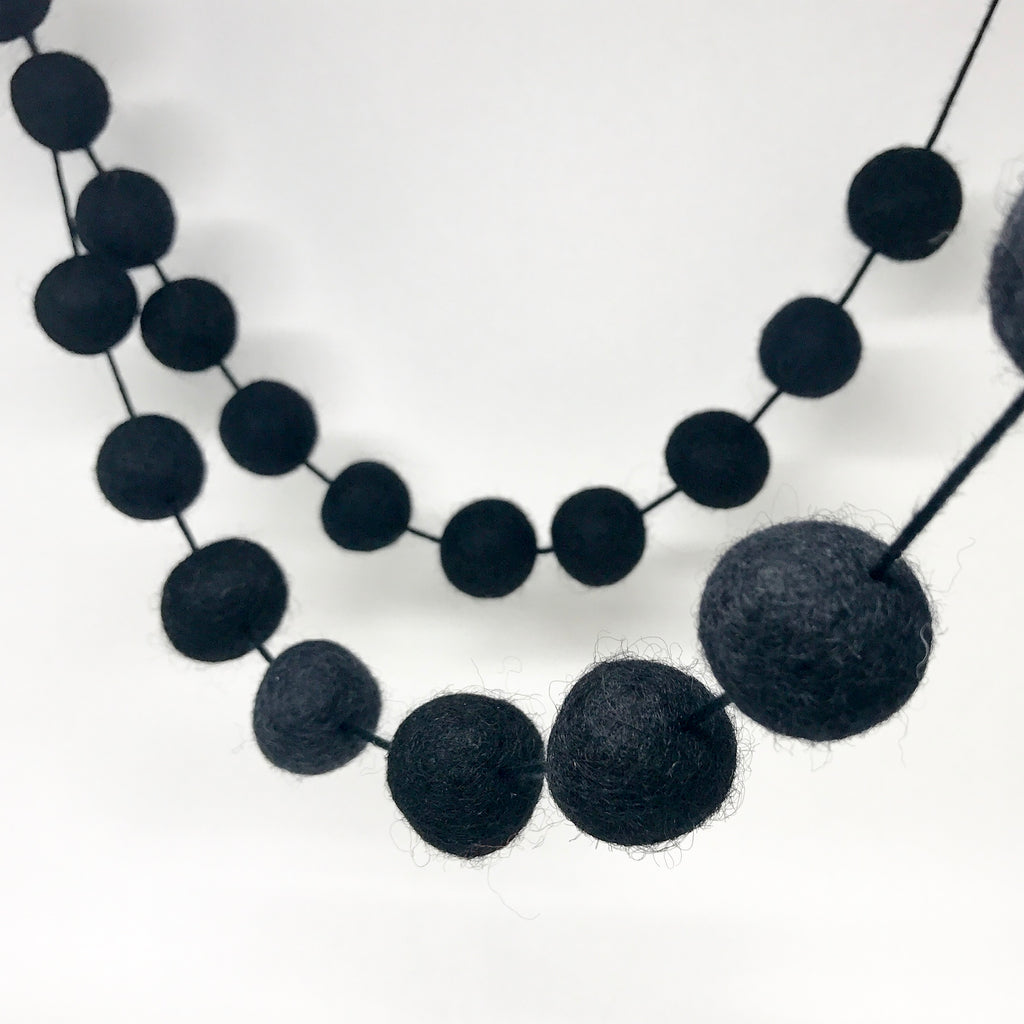 Stone and Co Felt Ball Pom Pom Garland - Black Magic - stoneandcoshop