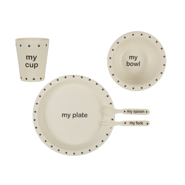 Black Star Bamboo Children's Breakfast and Dinner Plate, Bowl, Cup and Cutlery Set - stoneandco