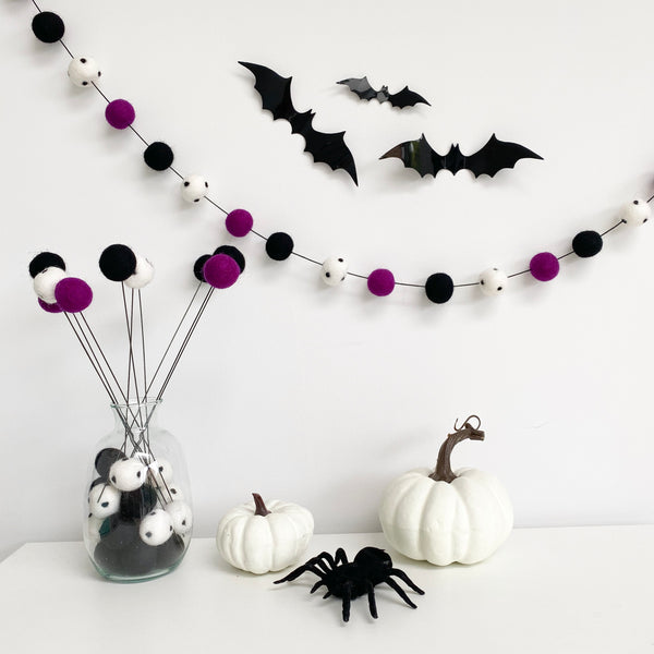 Halloween Boo Felt Ball Stems