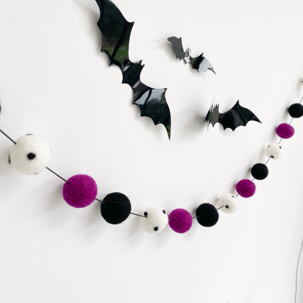 Halloween Boo Felt Ball Stems - stoneandcoshop