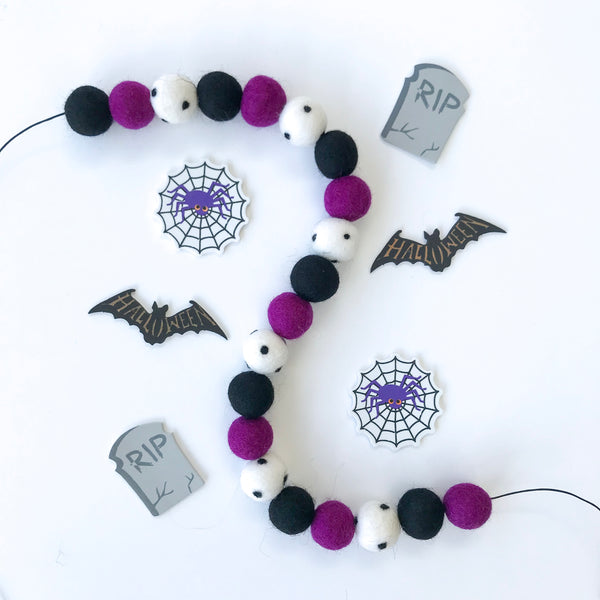 Stone and Co Felt Ball Halloween Pom Pom Garland - Limited Edition Boo! Garland