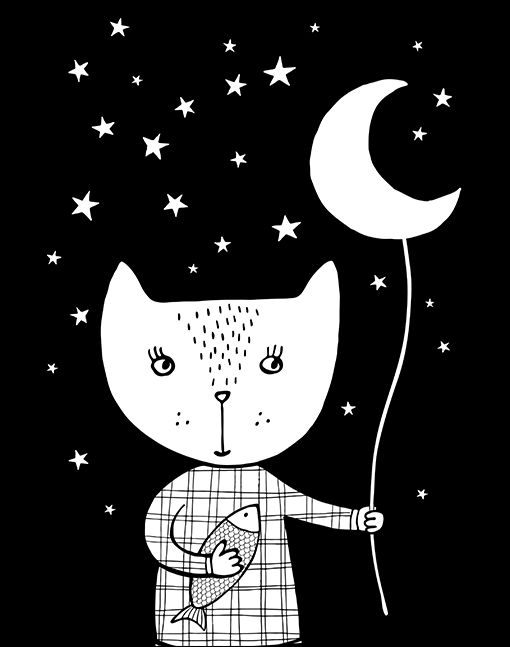 Cat And Moon A4 Print By Mini Learners - stoneandcoshop