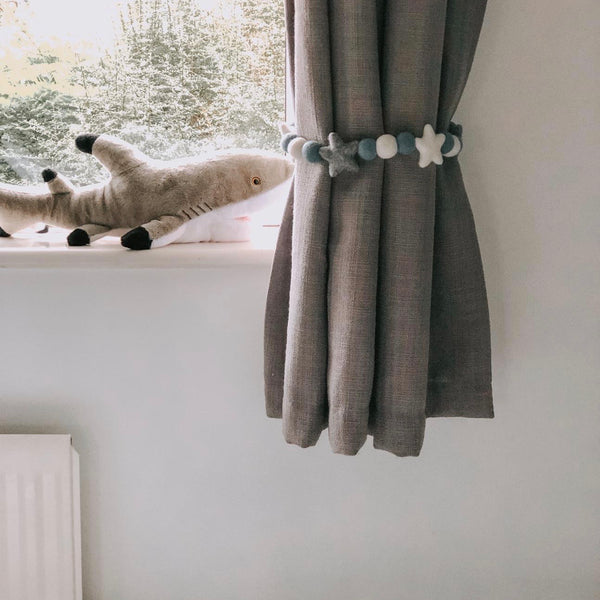 Curtain Felt Ball Tie Backs in Grey Star, White and Grey - stoneandcoshop