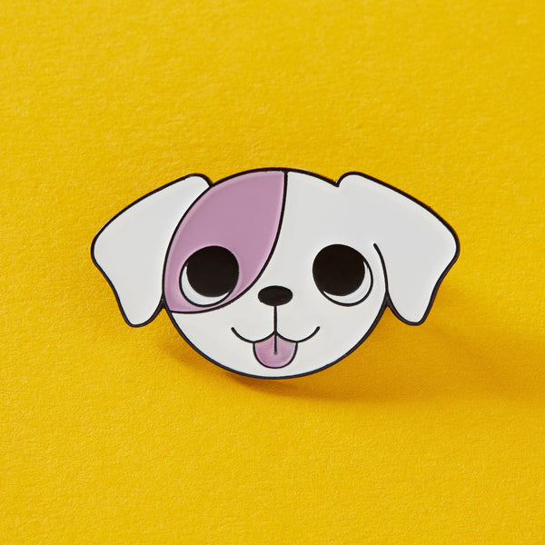 Pink Puppy Enamel Pin by Punky Pins - stoneandcoshop