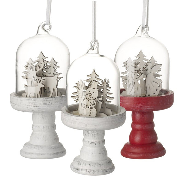 Set of 3 Christmas Scene Hanging Glass Domes - stoneandcoshop