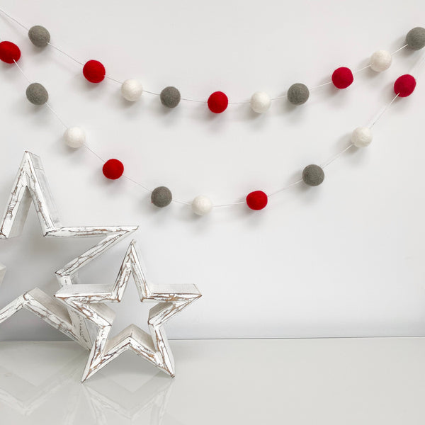 Felt Ball Pom Pom Garland - Red, Grey and White - stoneandcoshop