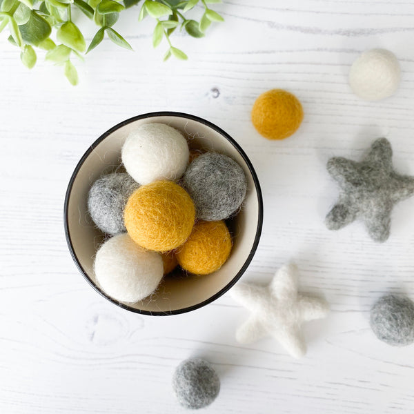Felt Star and Ball Pom Garland Mustard, Grey and White By Stone And Co - stoneandcoshop