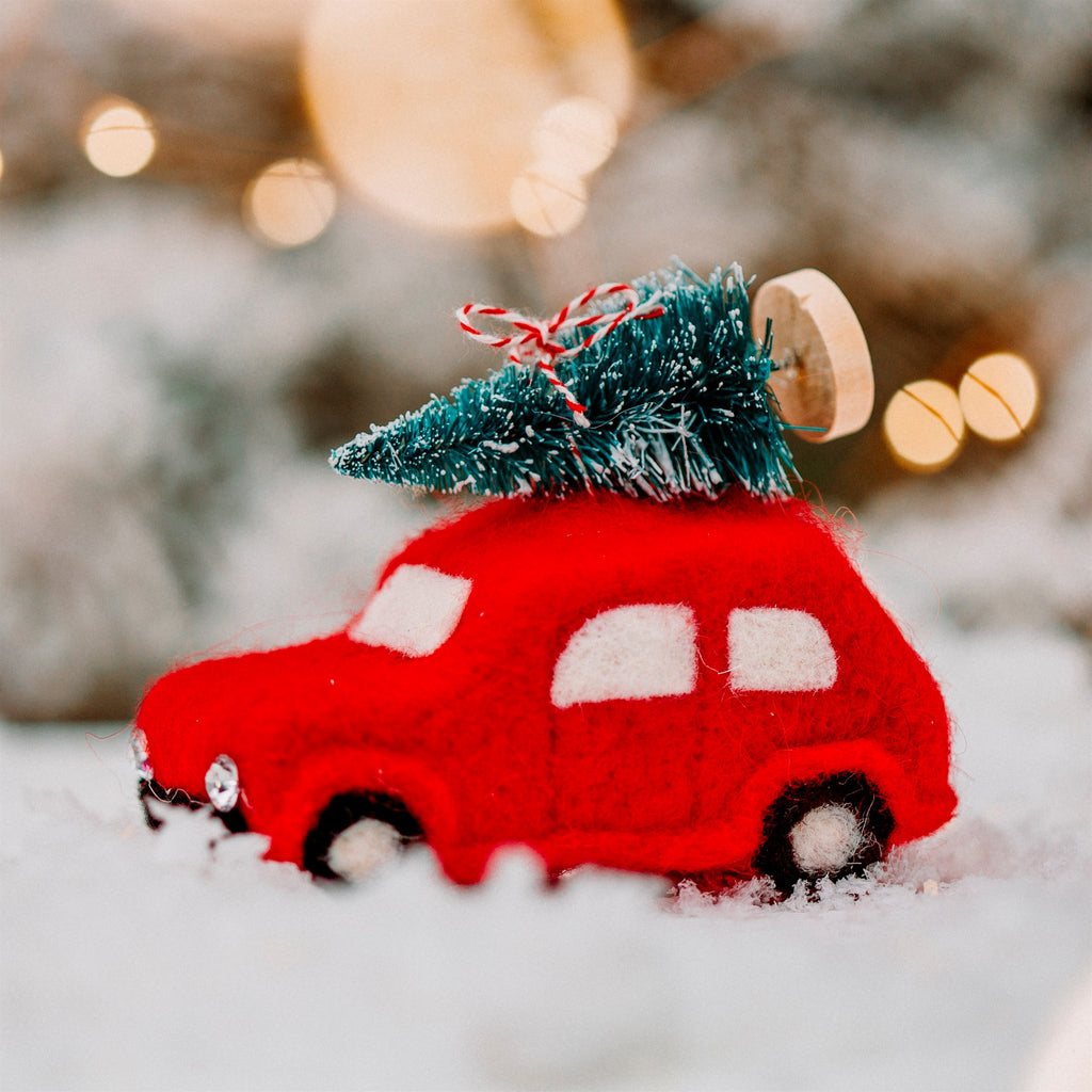 Traditional Felt Christmas Car With Tree Hanging Decoration