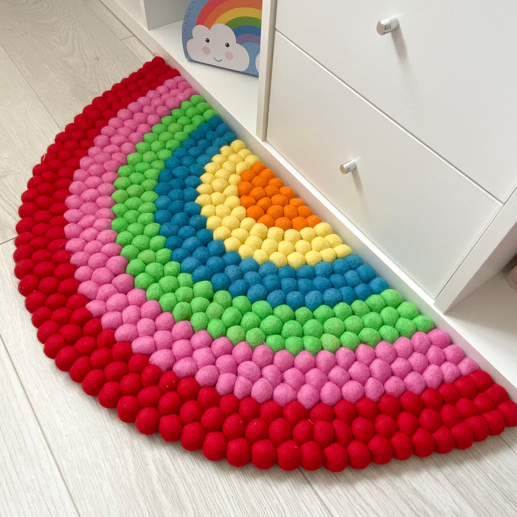 Rainbow Felt Ball Rug - stoneandcoshop