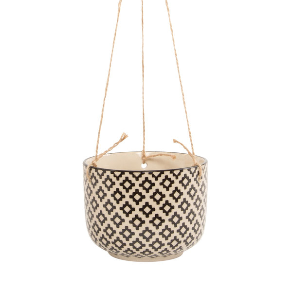 Black Geometric Hanging Planter - stoneandco