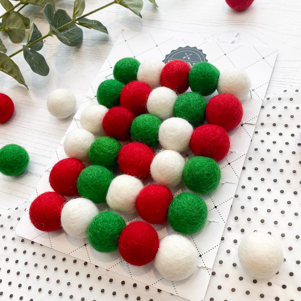 Felt Ball Pom Pom Garland - Red, Green and White - stoneandcoshop
