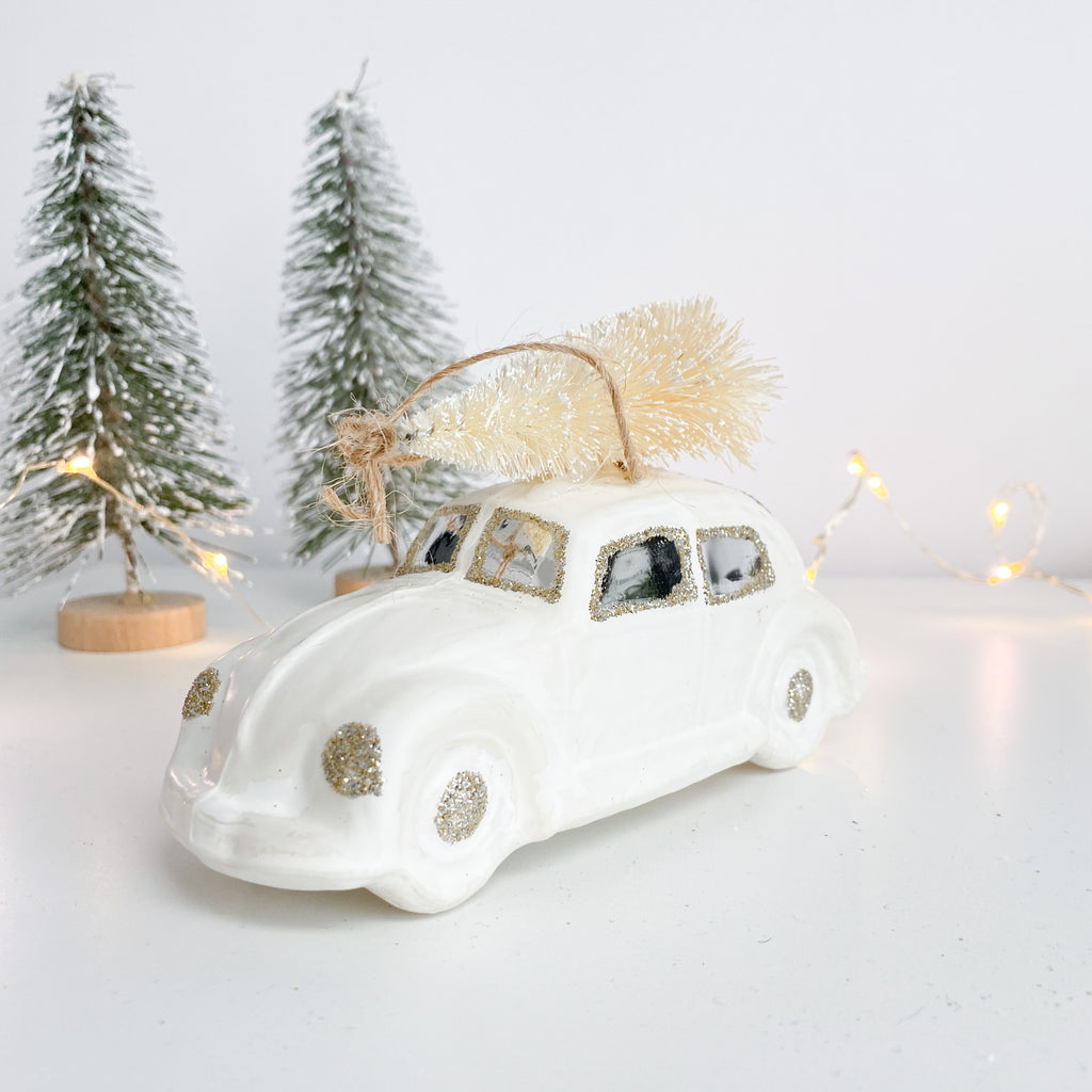 White Vintage Car Bauble
