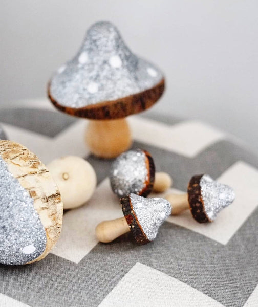 Mini Toadstools In Silver And White Glitter - Set of 10 - stoneandco