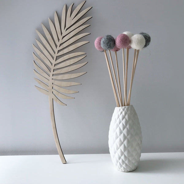 Felt Ball Flowers in Dusty Pink, Natural Grey and Natural White - stoneandco