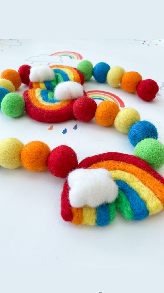 Curtain Felt Ball Tie Backs in Rainbow Clouds