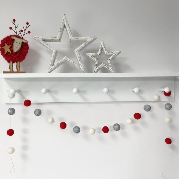 Christmas Felt Ball Pom Pom Garland - Jingle Bells in Silver, Red and White - stoneandco