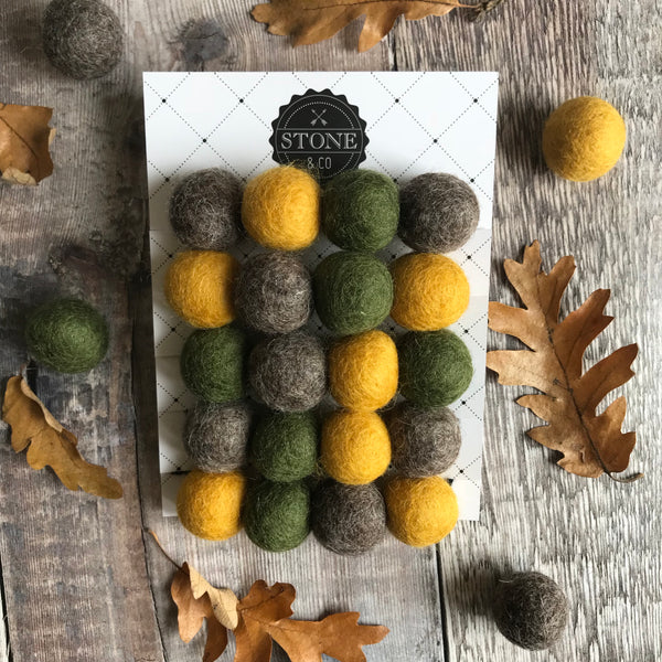 Stone and Co Felt Ball Autumn Vibes Pom Pom Garland - Moss, Mustard and Stone