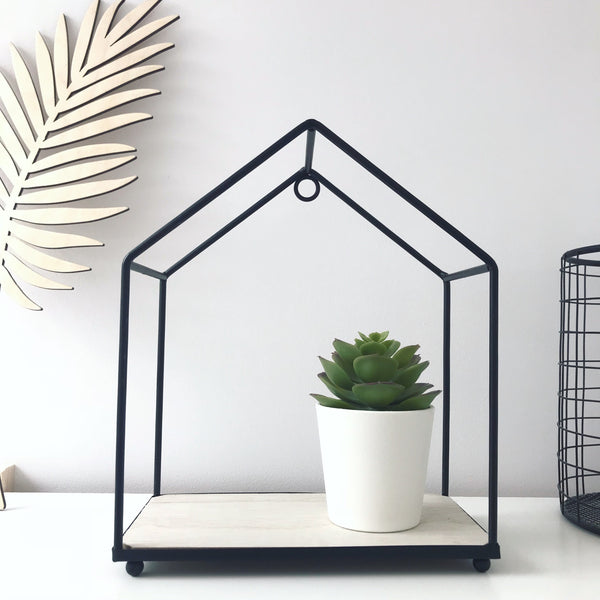 Metal and Wood Black House Shelf - stoneandco