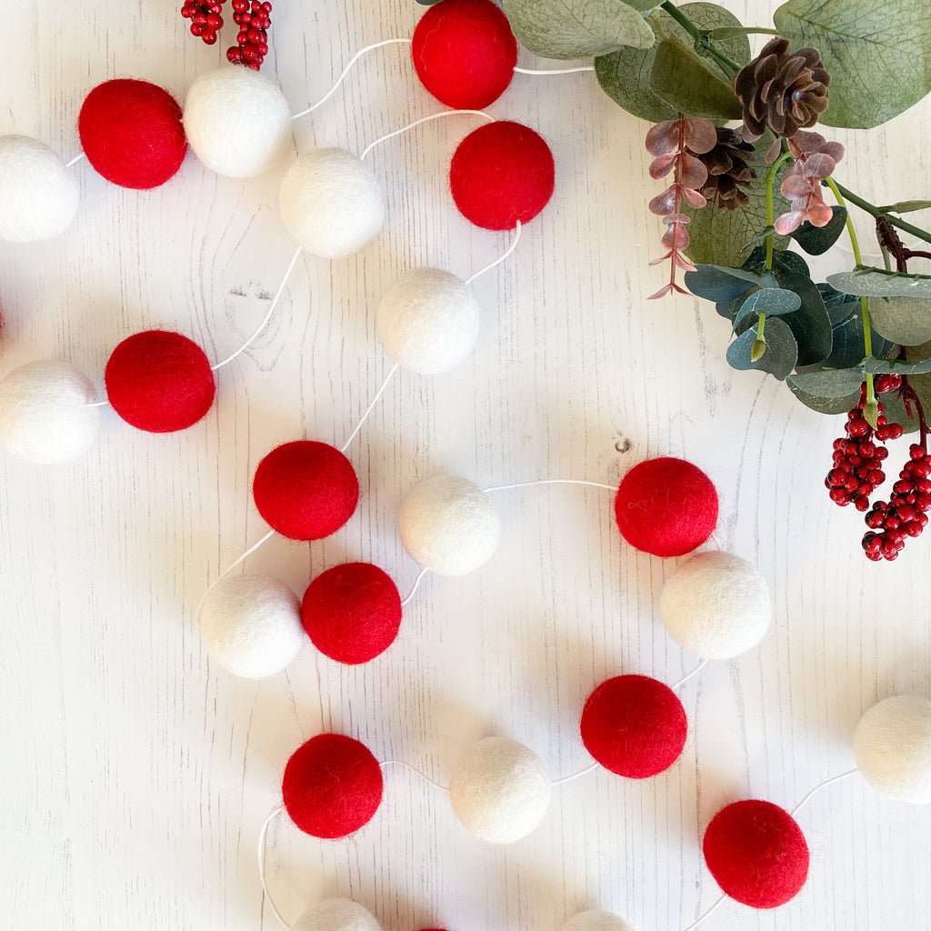 Extra Large Felt Ball Pom Pom Garland - Red and White