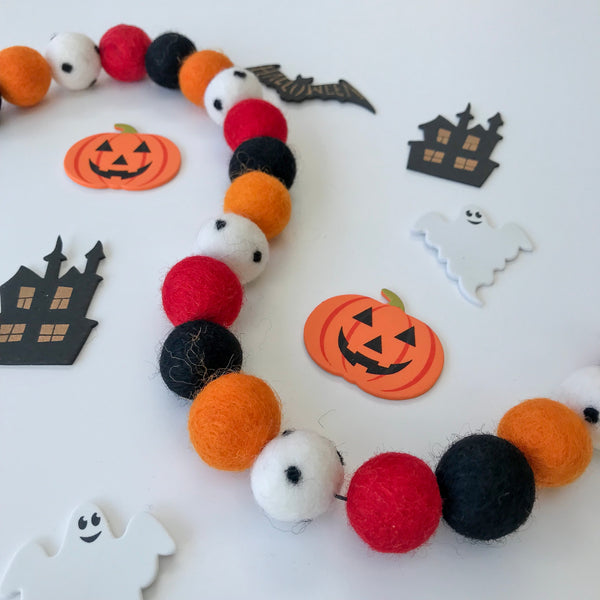 Stone and Co Felt Ball Halloween Pom Pom Garland - Limited Edition Creep! garland