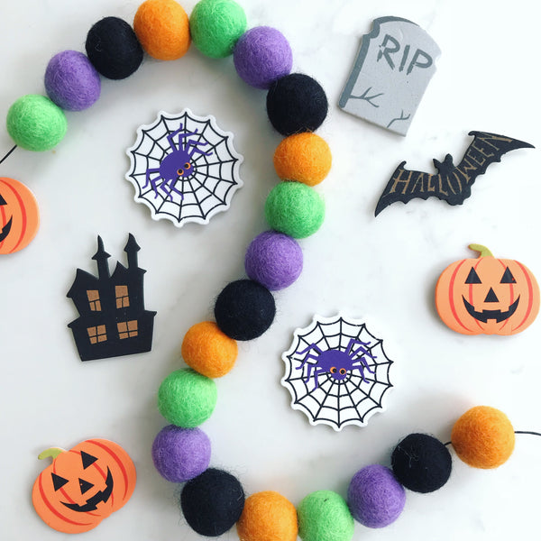 Stone and Co Felt Ball Halloween Pom Pom Garland - Limited Edition Witches Brew