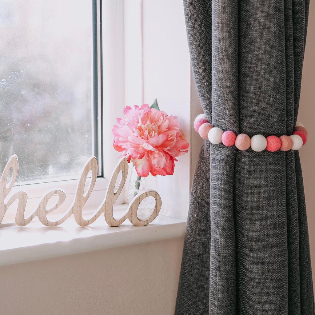 Curtain Felt Ball Tie Backs In Hot Pink, Dusty Pink and White - stoneandcoshop