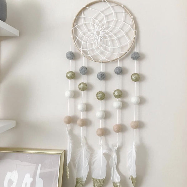 Stone & Co Felt Ball Pom Pom And Feather Dream Catcher - stoneandco