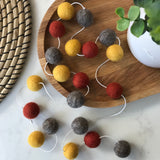 Stone and Co Felt Ball Autumn Pom Pom Garland - Copper, Mustard and Stone - stoneandcoshop