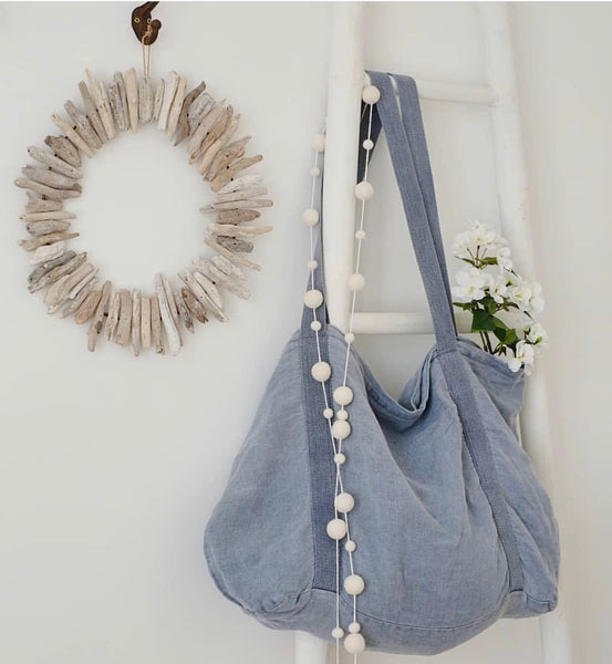 Stone and Co Felt Ball Pom Garland White Mix - stoneandcoshop