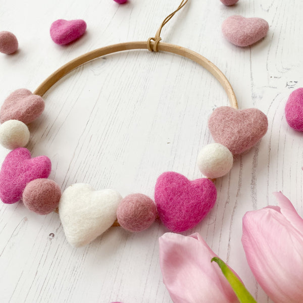 Valentines Felt Heart and Ball Hoop In Dusty Pink, Hot Pink and White.  By Stone & Co - stoneandcoshop