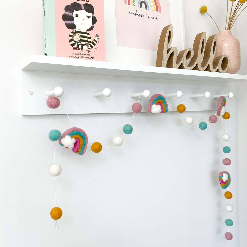 Felt Rainbow and Ball Pom Pom Garland By Stone And Co - stoneandcoshop