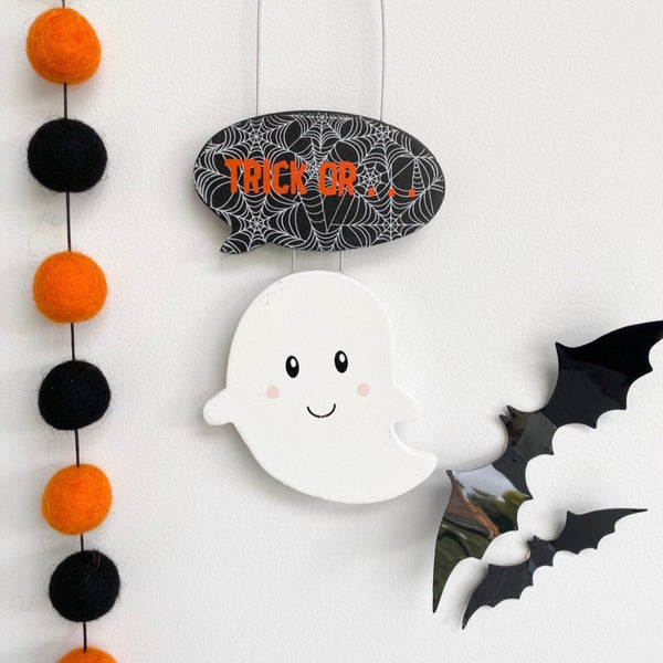 Happy Ghost Trick or Treat Halloween Hanging Decoration - stoneandcoshop
