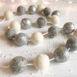 Felt ball Pom Pom garland - White in Silver, Natural Grey, Natural White - stoneandcoshop