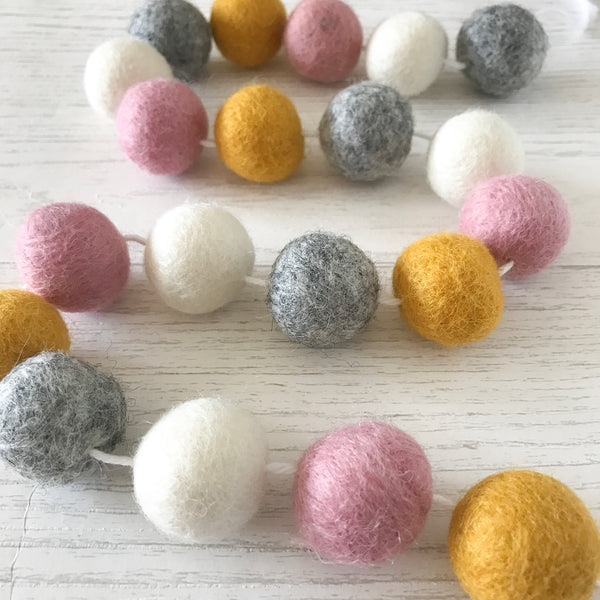 Stone and Co Felt Ball Pom Garland Dusty Pink, Natural Grey, Mustard and Natural White - stoneandco
