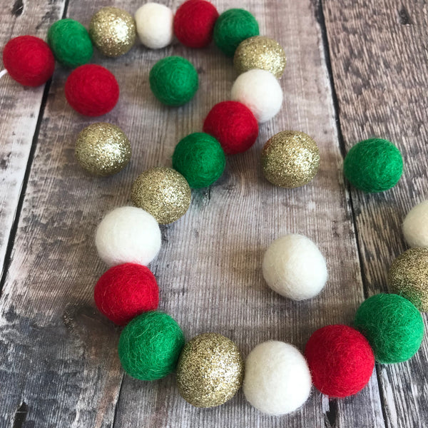 Christmas Felt Ball Pom Pom Garland - Noel in Green, Gold, Red, White - stoneandco