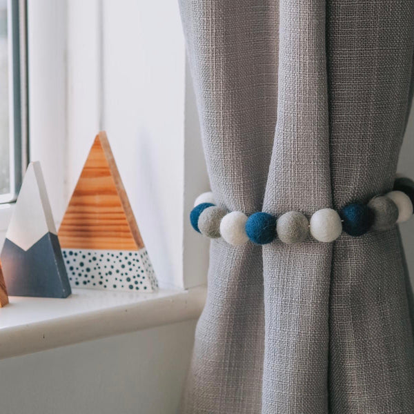 Curtain Felt Ball Tie Backs In Dove Grey, Petrol and White - stoneandcoshop