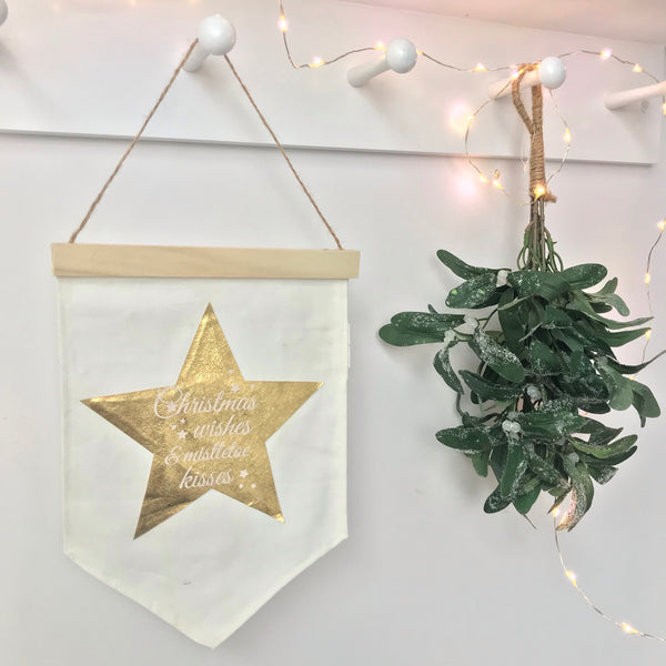 Christmas Banner Pennant Flag -  Christmas Wishes And Mistletoe Kisses - stoneandco