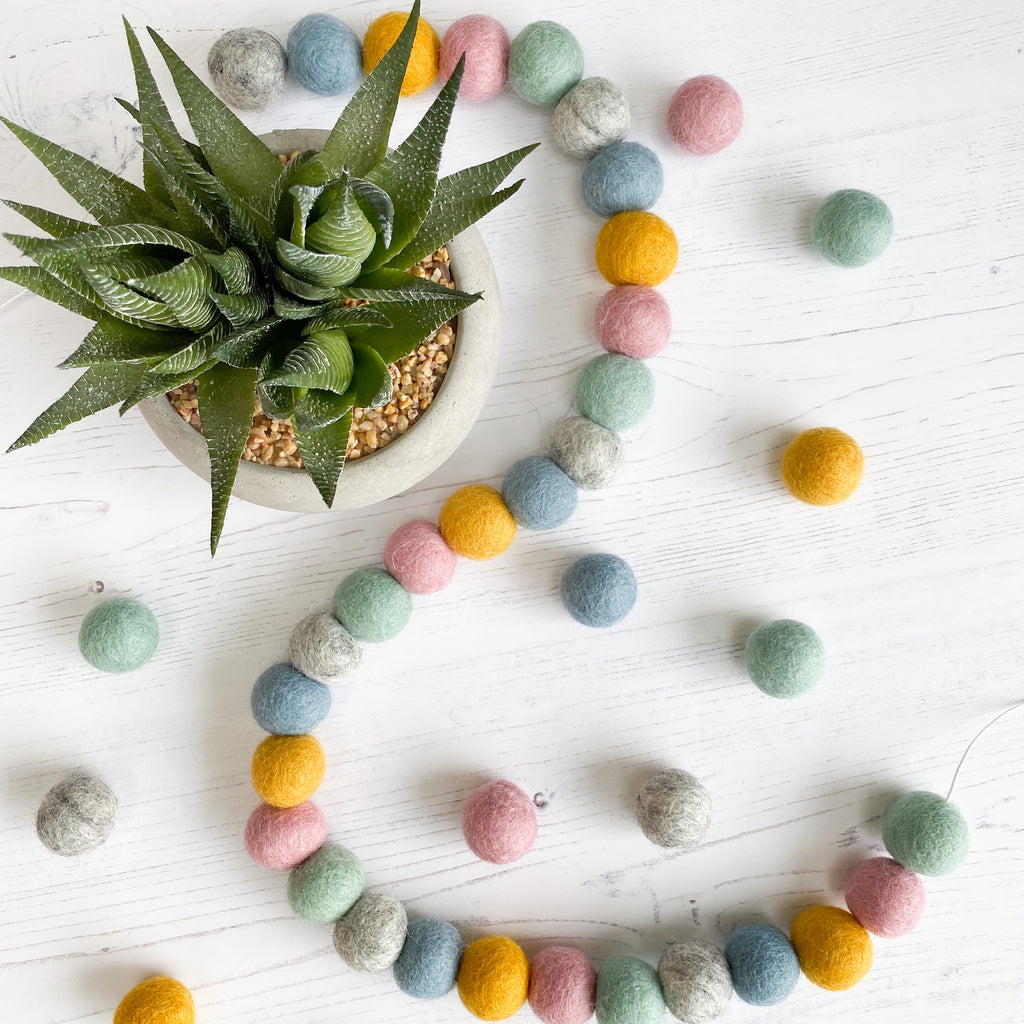 Felt Ball Pom Pom Garland in Duck Egg,  Grey, Mustard, Dusty Blue and Pink - stoneandcoshop