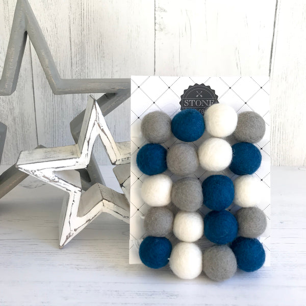 Stone and Co Felt Ball Pom Garland in Petrol Blue, Dove Grey and Pure White - stoneandco