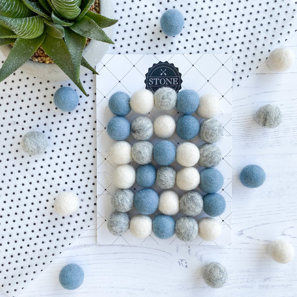 Stone and Co Felt Ball Pom Garland Dusty Blue, Natural Grey And White - stoneandcoshop