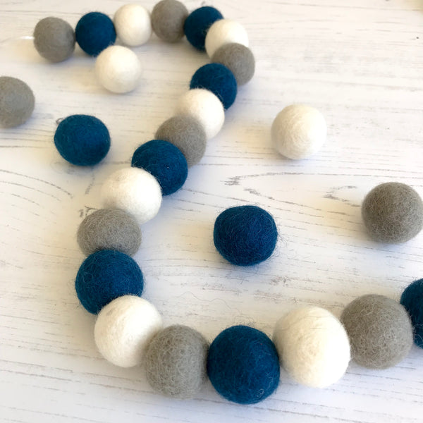 Stone and Co Felt Ball Pom Garland in Petrol Blue, Dove Grey and Pure White