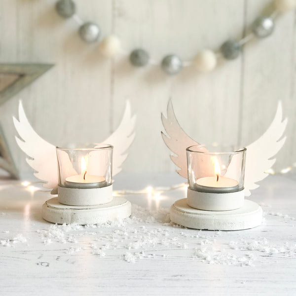 Set of Two Angel Wing Mini Tea Light Holders - stoneandcoshop