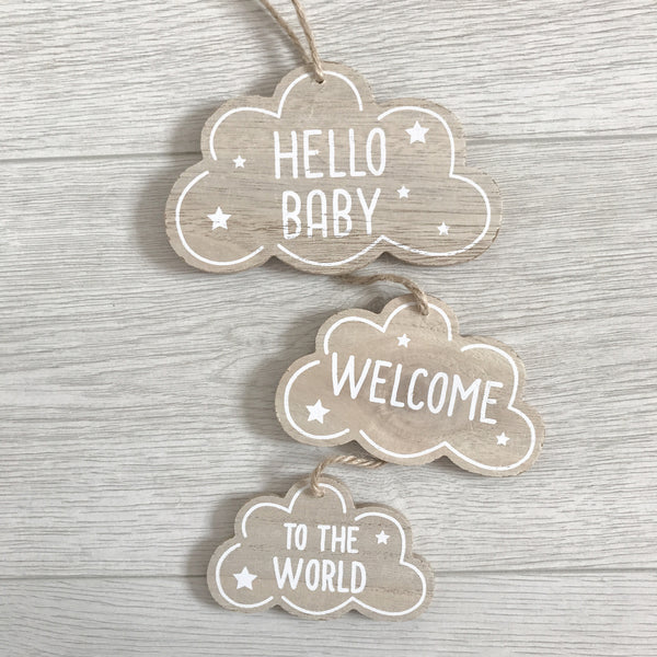 Welcome To The World Wooden Hanger - stoneandco
